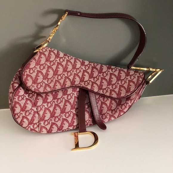 d90c47223062 Dior Handbags - Dior Canvas Saddle Bag in Trotter Red and Burgundy